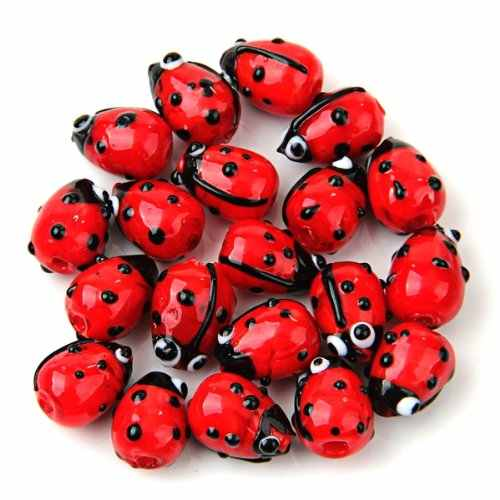 SAF-20 Red Lampwork Glass Ladybug Ladybird Loose Beads 12mm HOT