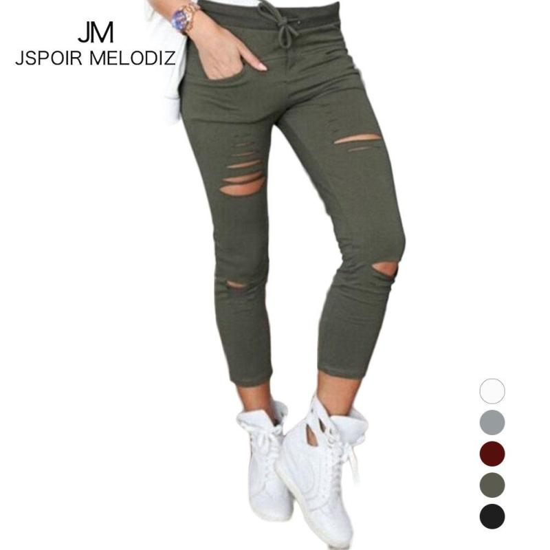 XXXXL Fashion Women Leggings Ripped Capri-pants Pencil Ripped Waist Pants High Capri Legging pants Pants Plus Size