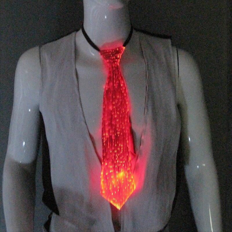 Newest design fashion Led Luminous button battery Tie LED rgb 7 light colors man tie novelty optic fiber tie luminous suit ties