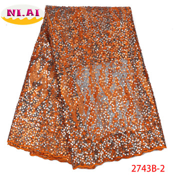 Nigeria Embroidery Lace Fabric, Organza Lace Dress Burnt Orange, Full Sequin Dresses African Lace Mr2743b