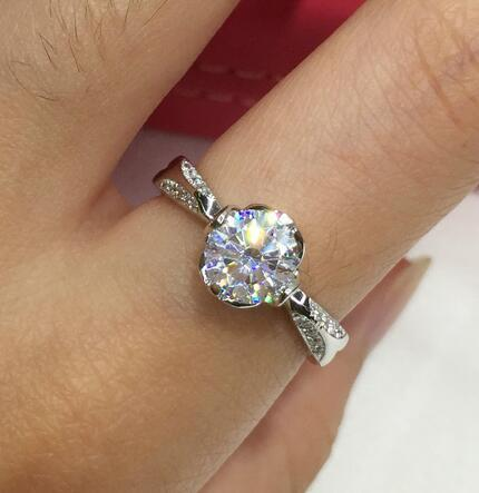 luxury quality trendy 1 CT Carat  anniversary wedding engagement  Party Sterling silver dia mond ring  Women Brithday gift