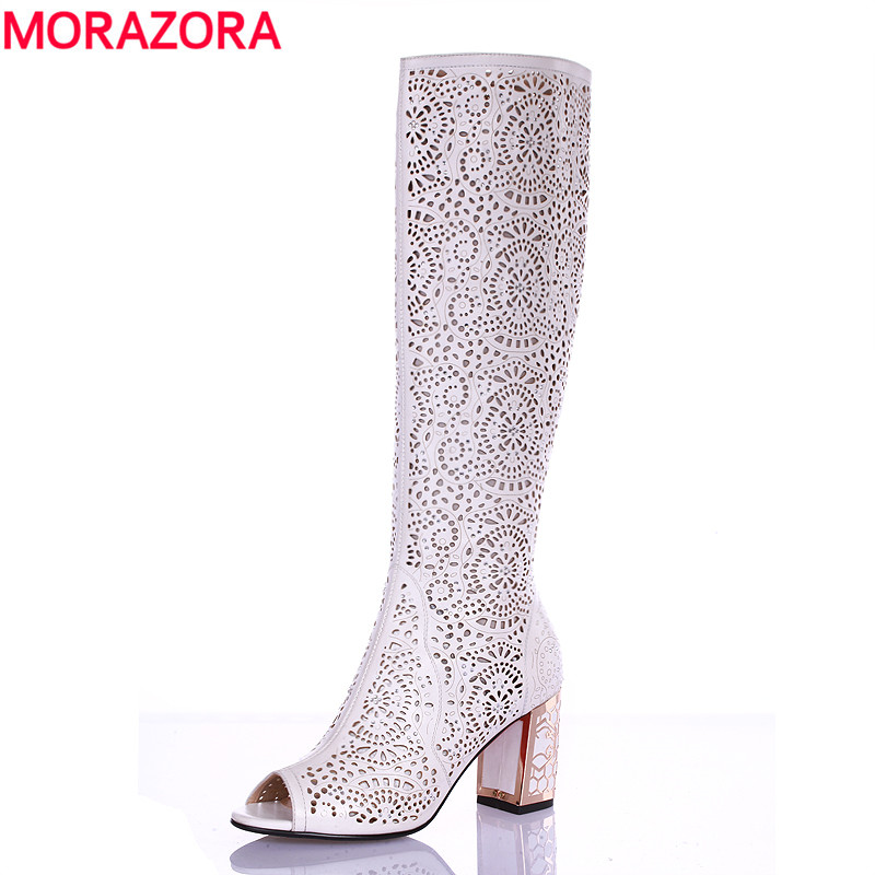 MORAZORA 2018 new high quality cut outs women's summer boots high heels knee high women sandals solid color ladies shoes woman 2015 new deluxe brand 100% high quality flat summer women knee high gladiator sandals genuine leather cut outs cover heel shoes