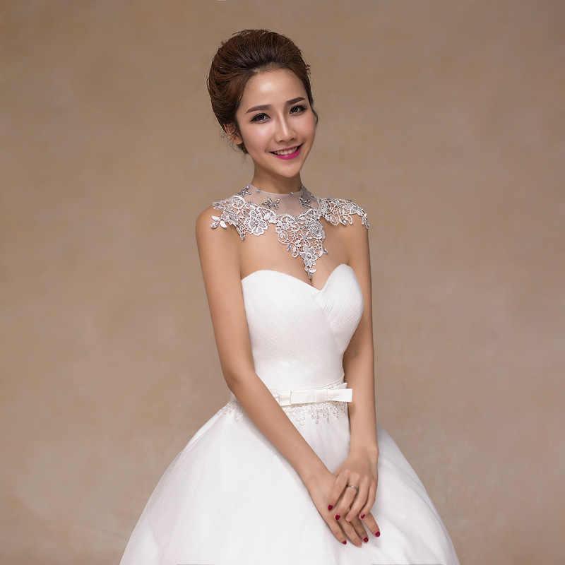 Janevini Elegan Kristal Bridal Bahu Kalung Renda Wanita Kontes Pernikahan Bahu Fashion Perhiasan Pengantin Wanita Kalung Rantai