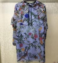 Women Summer Dresses 2018 Long Sleeve Printed Dress Elegant Bule 100% Silk