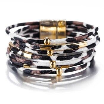 Δερμάτινo βραχιόλι Leopard πολλαπλών στρώσεων για γυναίκες με κομψό Boho στυλ Βραχιόλια Κοσμήματα Αξεσουάρ MSOW