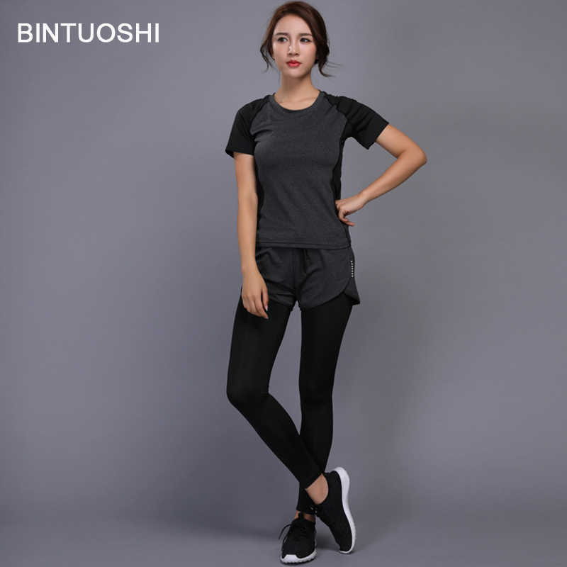 283605ef0a ... BINTUOSHI 2 Pieces Women Yoga Set Fitness Gym Clothes Running Tennis  Shirt+Pants Yoga Leggings ...