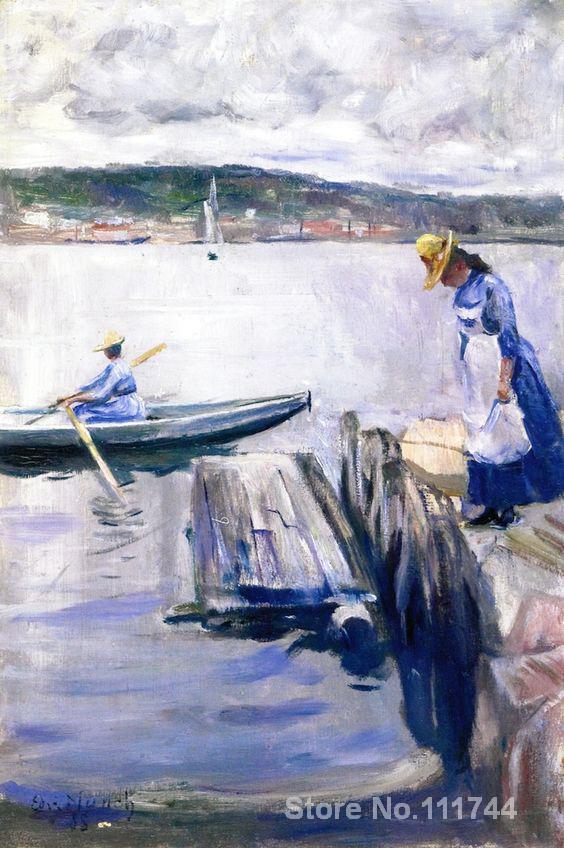 Galerie d'art en ligne journée d'été sur la jetée Edvard Munch peintures peintes à la main de haute qualité
