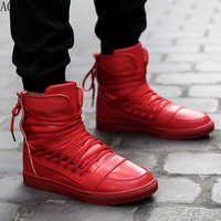 New Men Casual Shoes Top Quality Pu Leather Men High Top Shoes Fashion Lace Up Breathable Hip Hop Shoes Men Red Black White Q72