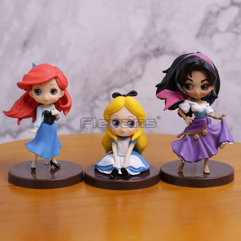 Q Posket Princess The Little Mermaid Ariel Alice in Wonderland The Hunchback of Notre Dame Esmeralda PVC Figures Toys 3pcs/set the little old lady in saint tropez