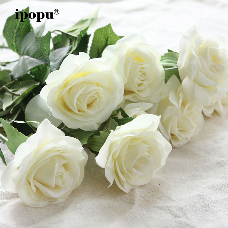 8pcs / 11pcs Real Touch Latex Kunstige blomster Bryllup Brudebukett Falske blomster Floral Wedding Party Dekorative blomster