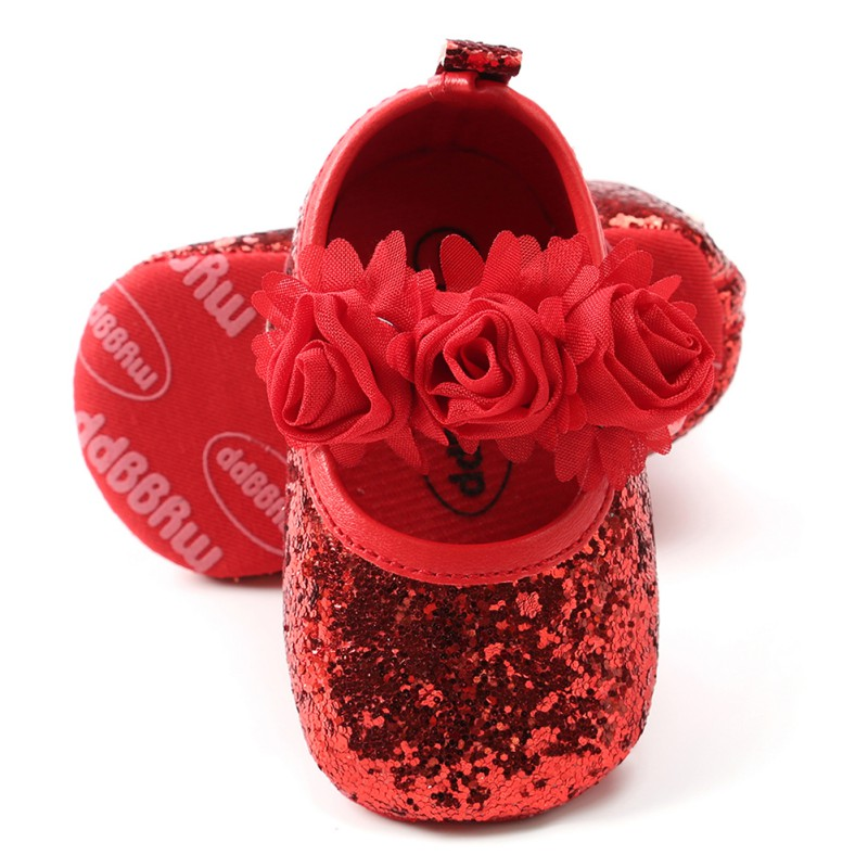 WEIXINBUY Fashion Sequins Lace Flower Baby Girl Shoes Anti-slip Soft Sole Bottom Walking Princess Shoes
