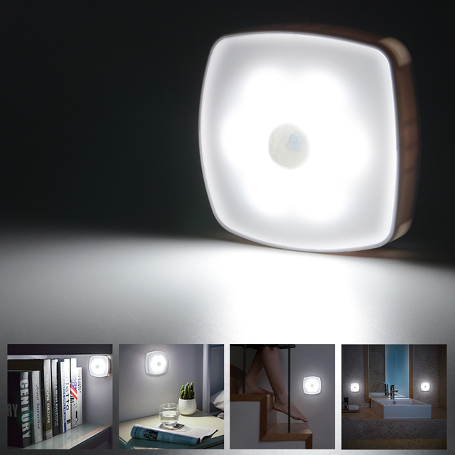 6 đèn led PIR Cảm Biến Chuyển Động Led Ánh Sáng Ban Đêm cảm ứng Cơ Thể Pin đèn tường Cầu Thang Nhà Vệ Sinh nhà bếp hàng hóa veilleuse led Bé đèn