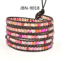 HOT Sale jewelry bracelet  5 handmade bracelets handmade mix agate beads  leather charm bracelets &banglesJBN-9018