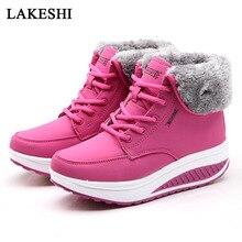 Women Boots Winter Velvet Shoes Warm Snow Fur Ankle Boots For Women Lace Up Heel boots