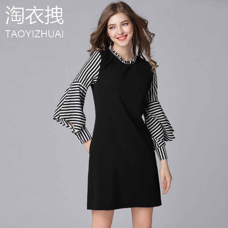 Women Dresses Series 2018 Spring Striped Long Sleeve Cotton Fitness Knitted Sweater Dress Casual Slim Dresses Full Size