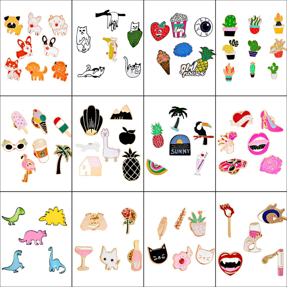 New Arrival 19 Styles Enamel Pins Colorful Cartoon Brooches Pins Set Animals Flower Brooch Collar Badges Brooches For Women Men