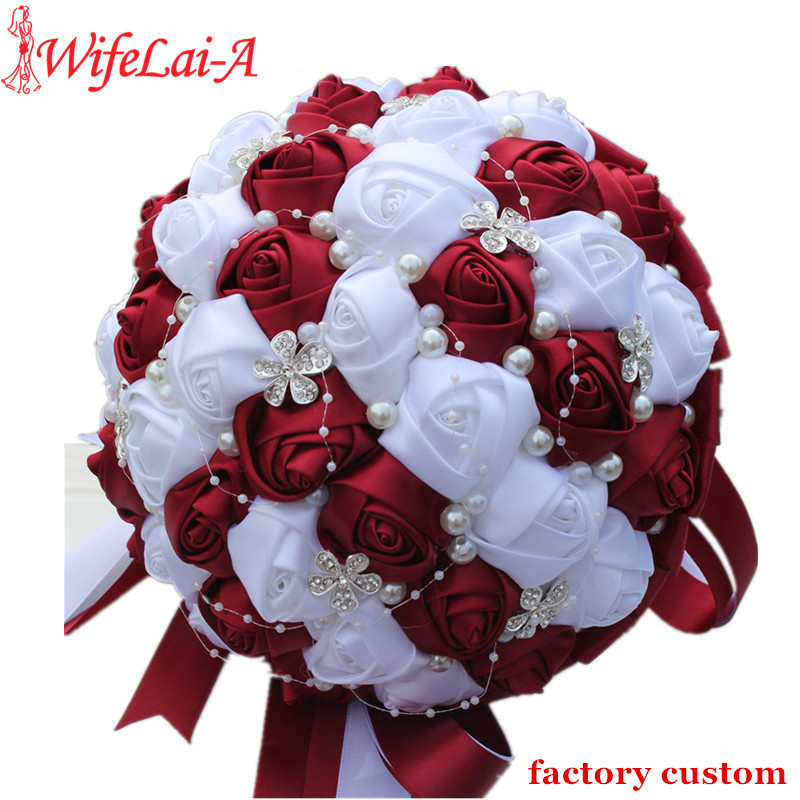 WifeLai-A Ramos De Novia Burgundy Red White Crystal Bridal Bouquet Custom Artificial Flower Bridesmaid Wedding Bouquet W224A-2