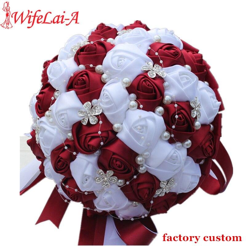 13 36 50 De Reduction Wifelai A Ramos De Novia Bourgogne Rouge Blanc Cristal Bouquet De Mariee Personnalise Fleur Artificielle Demoiselle D Honneur
