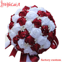 Drop Shipping Burgundy White Bridal Bouquets Custom For Flower Girl Bridesmaid Bride Colorful Wedding Flowers Ramos
