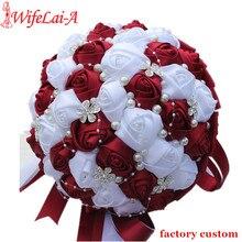 WifeLai Ramos De Novia Burgundyสีแดงสีขาวคริสตัลเจ้าสาวที่กำหนดเองประดิษฐ์ดอกไม้เพื่อนเจ้าสาวWedding Bouquet W224A 2
