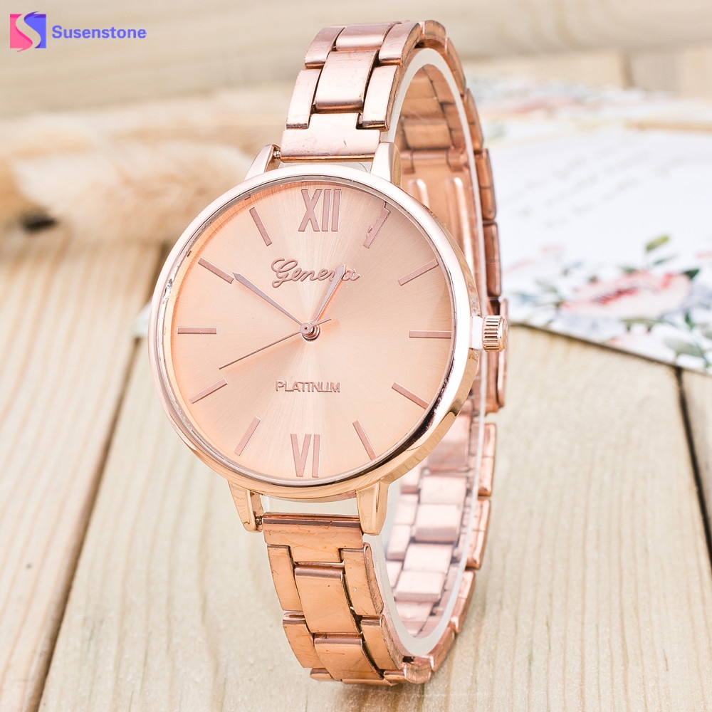 Women Fashion Stainless Steel Band Analog Quartz Wristwatch Rose Gold/Silver Alloy Dial Ladies Dress Watches Luxury Female Watch female simple fashion casual wrist watch women love heart dial leather band analog alloy quartz wristwatch loves gift