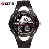 OTS Horloges Mannen Mens Outdoor Sports Dual Display Watches Male Fashion Large Dial LED Digital Waterproof