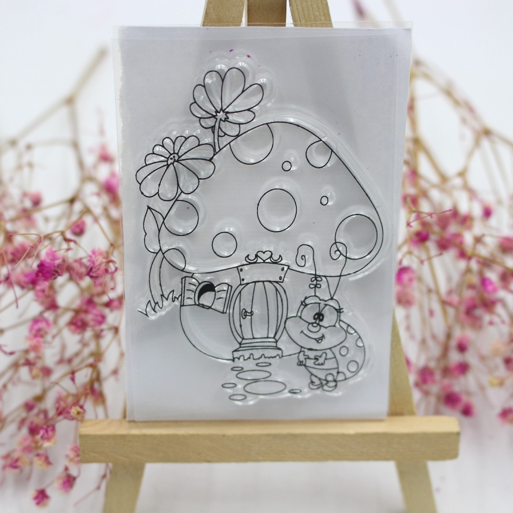 Mushroom House Ladybug Transparent Clear Silicone Stamp/Seal DIY Scrapbooking/photo Album Decorative Clear Stamp Card Making