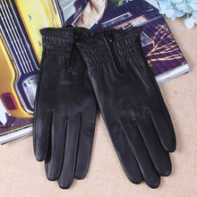 Sheepskin Gloves Female Autumn Winter Thermal Genuine Leather Touchscreen Zipper Fashion Black Women Mittens L17006