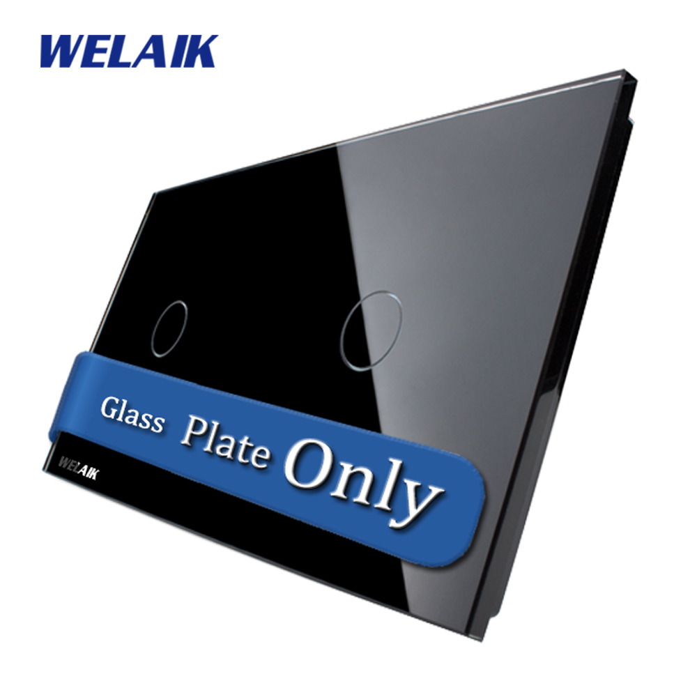 WELAIK  Touch Switch DIY Parts  Glass Panel Only of Wall Light Switch Black Crystal Glass Panel 1Gang+1Gang  A2911B1 smart home us black 1 gang touch switch screen wireless remote control wall light touch switch control with crystal glass panel