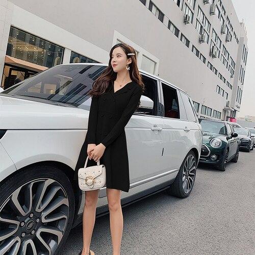 Genou Automne Breasted longueur ligne Vêtements rose Printemps De Coréen Et kaki Tricot Coréenne A Mode Double En Robe Haute Femmes Noir Taille qnFx4x