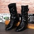 Homens de design italiano de luxo primavera outono motocicleta martin mid-calf botas altas rebites do punk vaca sapatos de couro pontas do dedo do pé zapatos
