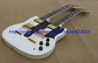 New! Double necks SG snow white 12/ 6 String electric guitar Musical Instruments ,gold parts,free shipping