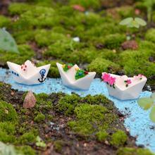3PC/Set Resin Craft Paper Boat Model Figure Toys Micro Garden Decoration Ornaments Terrariums Miniature DIY Accessories