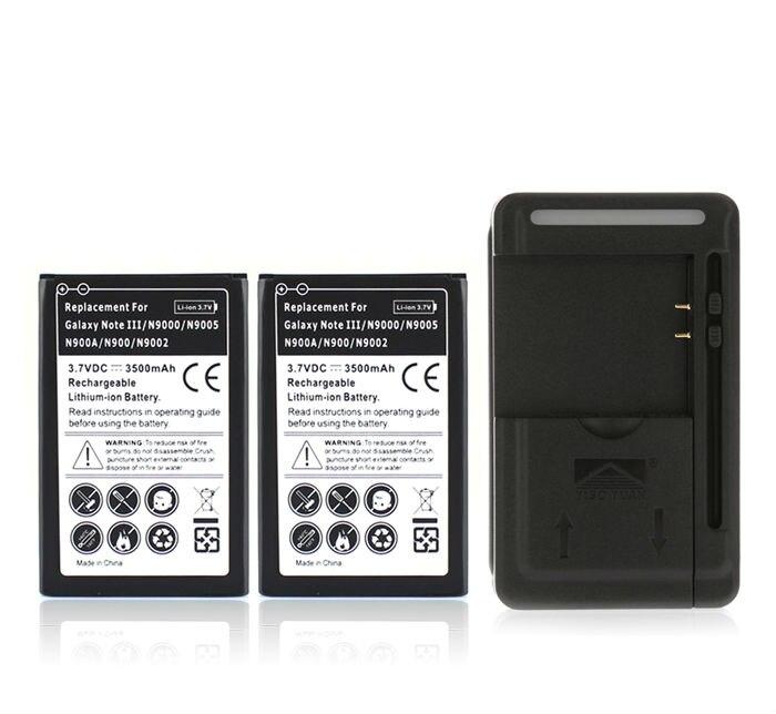 2x3500 mah Batterie De Téléphone De Remplacement Bateries pour Samsung Galaxy Note 3 III Note3 N9000 N9005 N900A N900 N9002 + USB Chargeur Mural