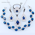 L&B Trendy Blue crystal Jewelry Sets For Women White Zircon Silver Color Earrings/Pendant/Necklace Chain/Bracelets/Ring