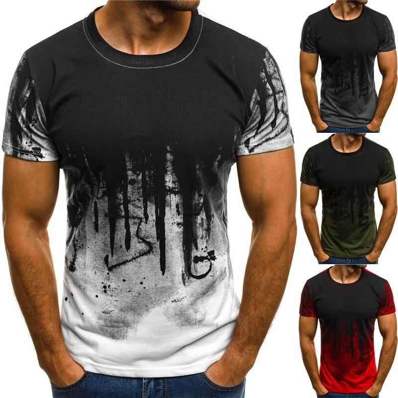 Zogaa encre numérique 3D impression t-shirt hommes t-shirt d'été décontracté à manches courtes haut col en o & t-shirts Harajuku Couple unisexe décontracté Slim Fit