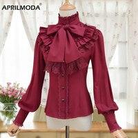 2019 Vintage LOLITA Wine Red Black Blue White Long Sleeve Chiffon Shirt Women Stand Collar Victorian Blusas Female Gothic Blouse
