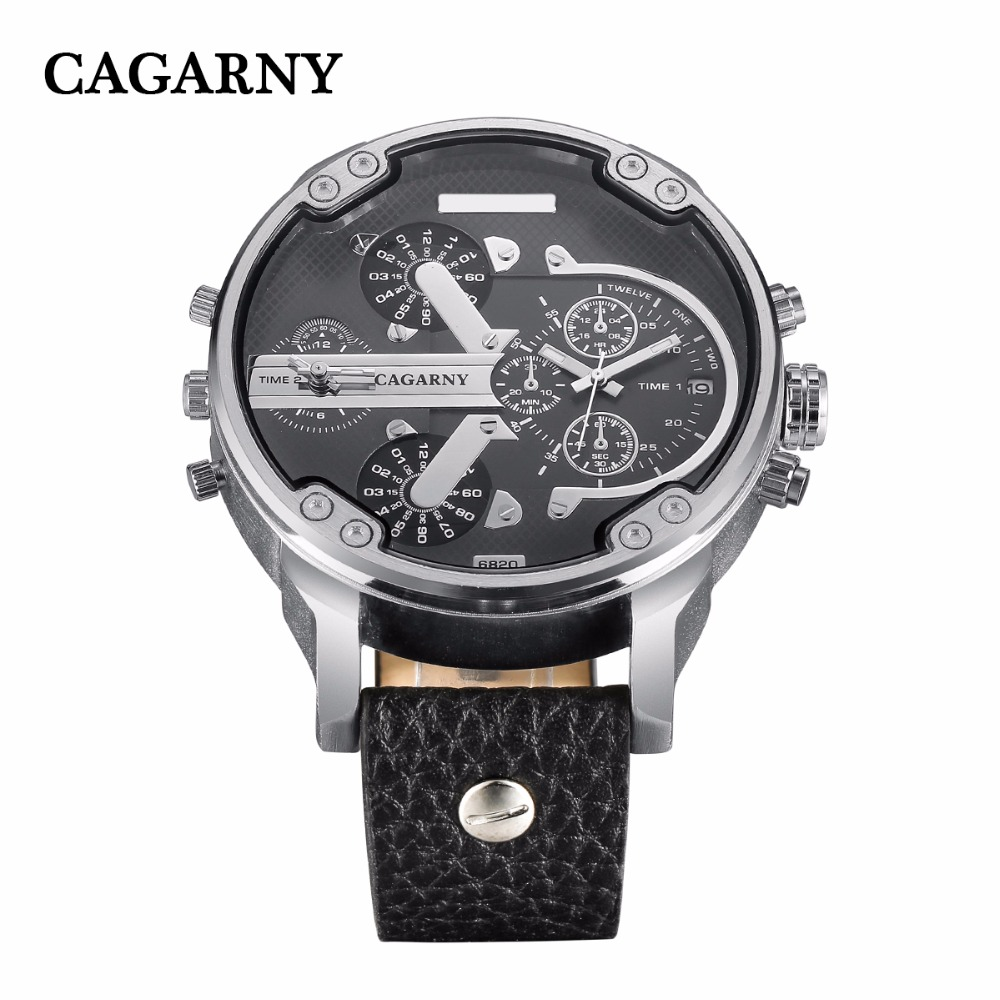 2019 drop shipping top luxury brand cagarny mens watches leather strap big case gold black silver dz military Relogio Masculino male clock man hour (20)