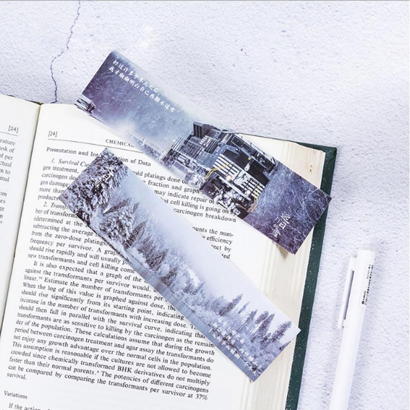 Купить с кэшбэком 30pcs/box Kawaii Snow day Bookmarks Paper Clip For Book Korean Gift Office School  Cute Supply Stationery supplies papelaria