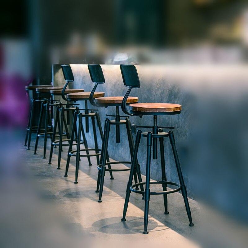 Деревенский промышленных Винтаж Ретро Металл завтрак барный стул кухня счетчик со спинкой регулируемая высота ресторан кафе