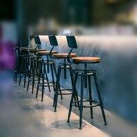 Деревенский промышленные винтажные Ретро Металл завтрак барный стул кухня счетчик стул с регулируемой спинкой высота ресторан кафе