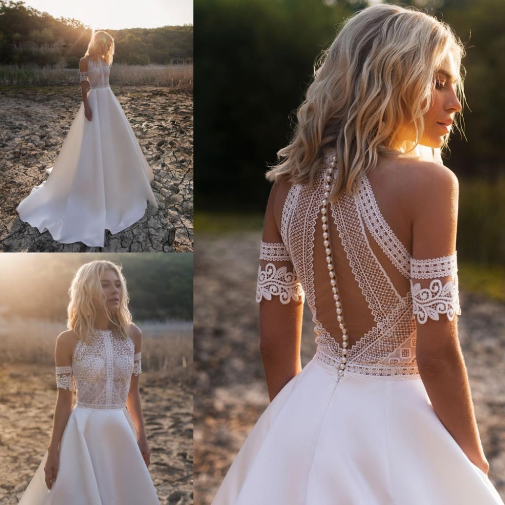 2019 Bohemian Wedding Dresses Jewel Lace Satin Bridal Gowns Button Back Beach A-Line Wedding Dress Robe De Mariee