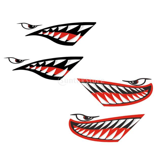 4pcs Vinyl Large Shark Teeth Mouth Funny Decals Stickers
