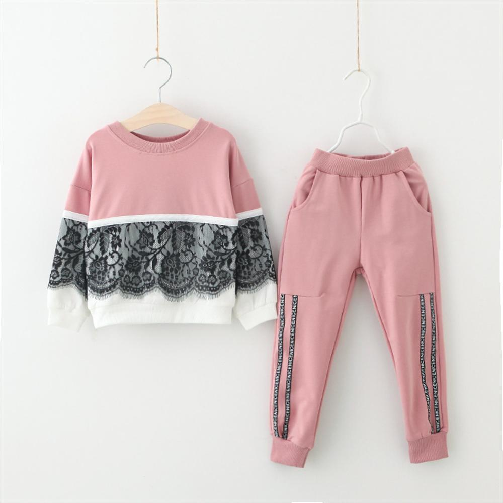 New 2018 Spring Girls Sport Suits Shirts + Pants Children Clothing 3 4 5 6 7 Year Kids Clothes Flower Lace Tracksuit for Girls
