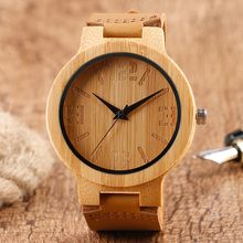 Unique Light Hand-made Men's Wood Watches Brown Genuine Leather Band Fashion Bamboo Wooden Wristwatches for Women Gift