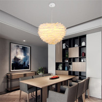 7W 30cm Contemporary Pendant Ceiling Lamp Lampshade White Feather Light For Home Living Room Decoration