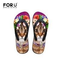 FORUDESIGNS Cute Animal Cat Printed Women House Flip Flops Summer Beach Soft Massage Flipflops For Ladies