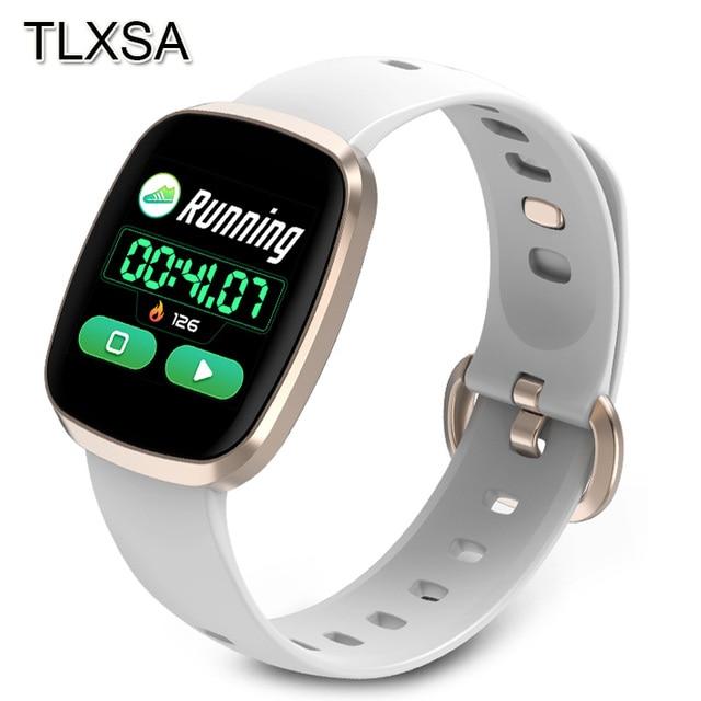النساء ساعة ذكية جهاز مراقبة اللياقة الرياضية مراقب معدل ضربات القلب Smartwatch بلوتوث تحكم بالموسيقى للماء ووتش لالروبوت