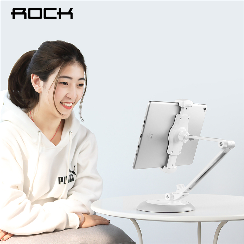 $32.99 ROCK Adjustable Tablet Phone Holder For iPad 2 3 4 Air Mini Pro 2018 For iPhone 360 Degrees Flexible Arm Table Pad Holder Stand