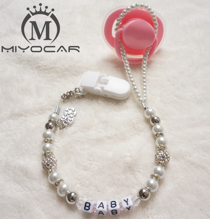 MIYOCAR Personalized -Any name Custom Bling Rhinestone Pacifier Clips / Soother Chain Holder Dummy Clip / Tänder Clip för baby